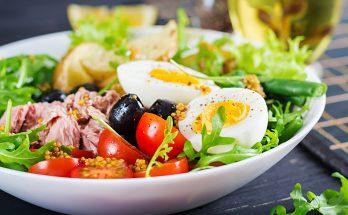 Avocado, mango, tuna and parmesan salad